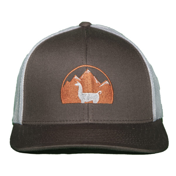 brown hat with white mesh