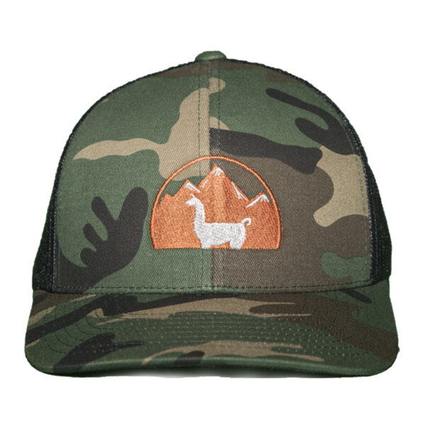 camo hat with black mesh